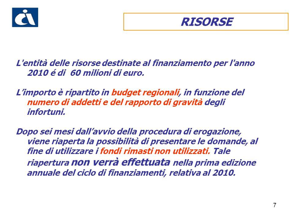 RISORSE L entità delle risorse destinate al finanziamento per l anno 2010 é di 60 milioni di euro.