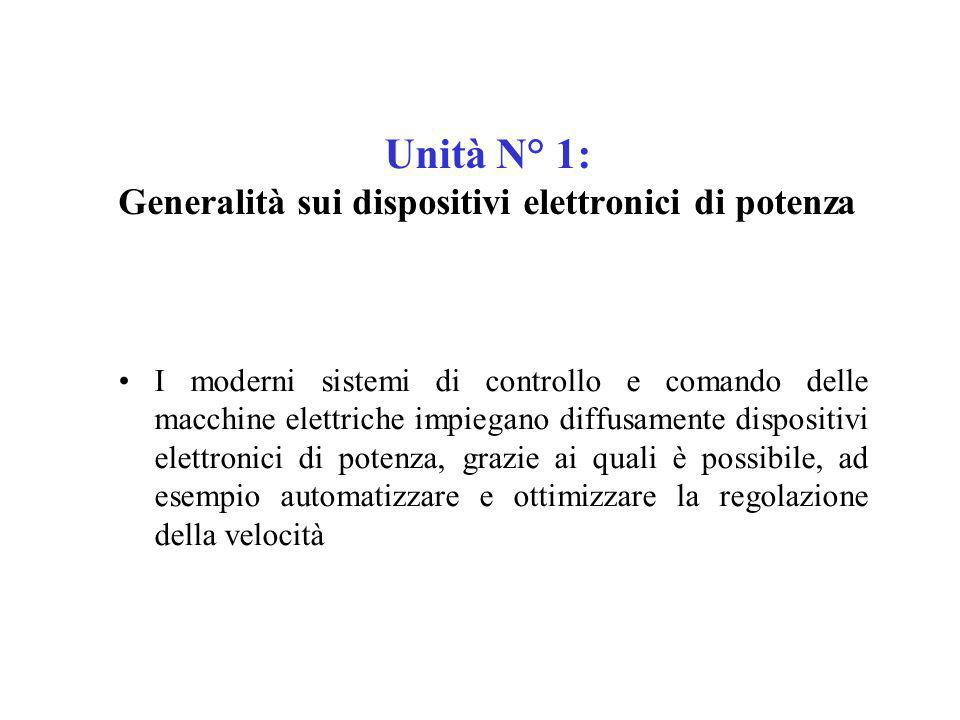 Unità N° 1: Generalità sui dispositivi elettronici di potenza
