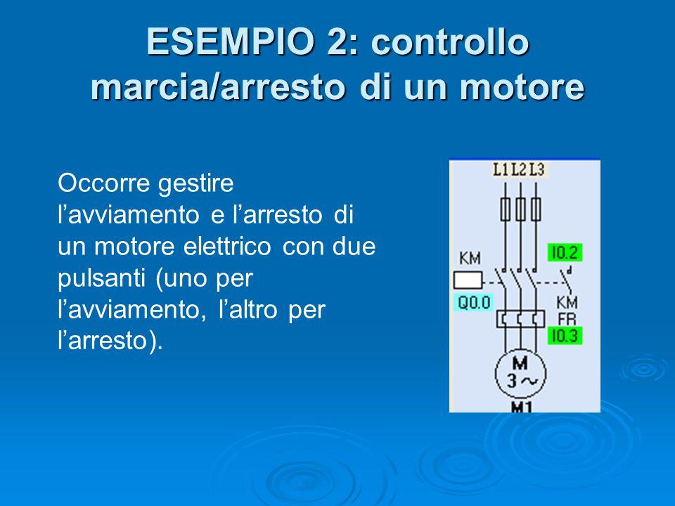 ESEMPIO 2: controllo marcia/arresto di un motore