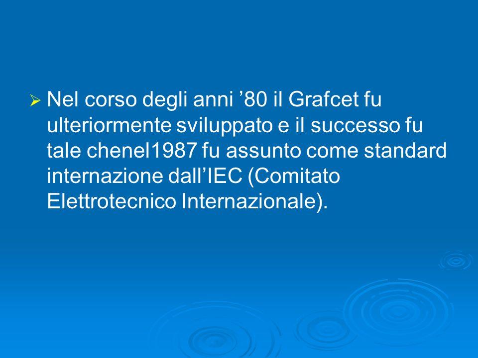 Nel corso degli anni '80 il Grafcet fu ulteriormente sviluppato e il successo fu tale chenel1987 fu assunto come standard internazione dall'IEC (Comitato Elettrotecnico Internazionale).