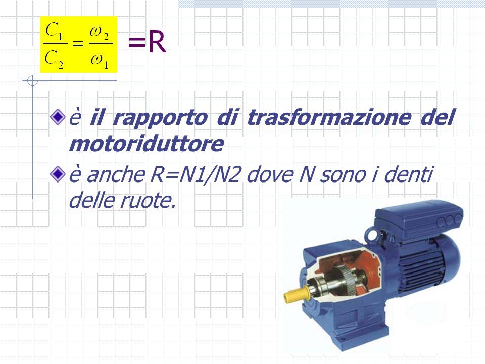=R è il rapporto di trasformazione del motoriduttore