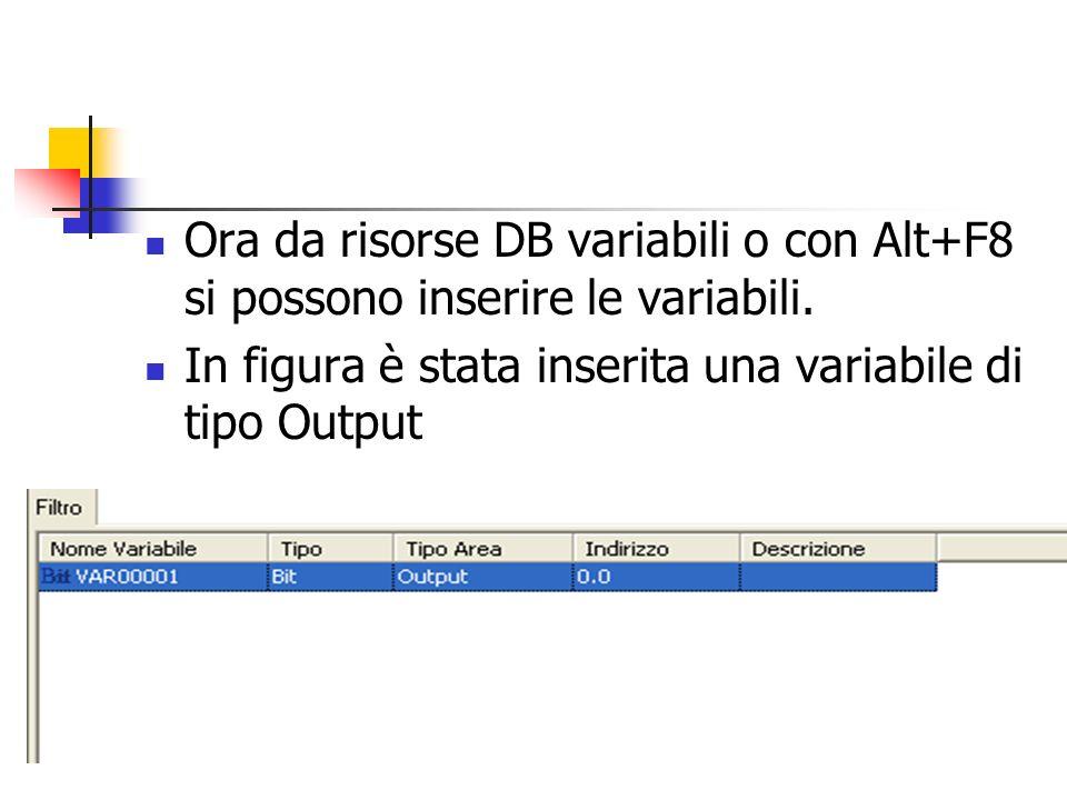 Ora da risorse DB variabili o con Alt+F8 si possono inserire le variabili.