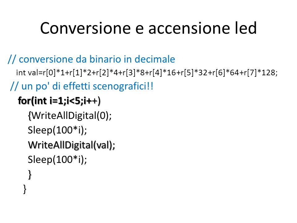 Conversione e accensione led