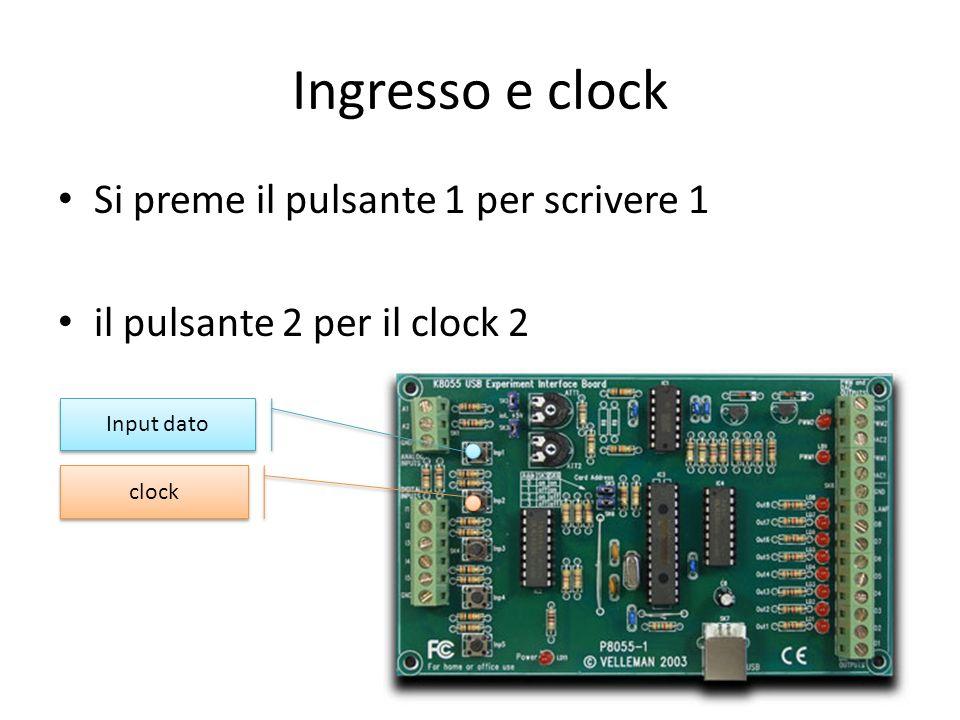 Ingresso e clock Si preme il pulsante 1 per scrivere 1