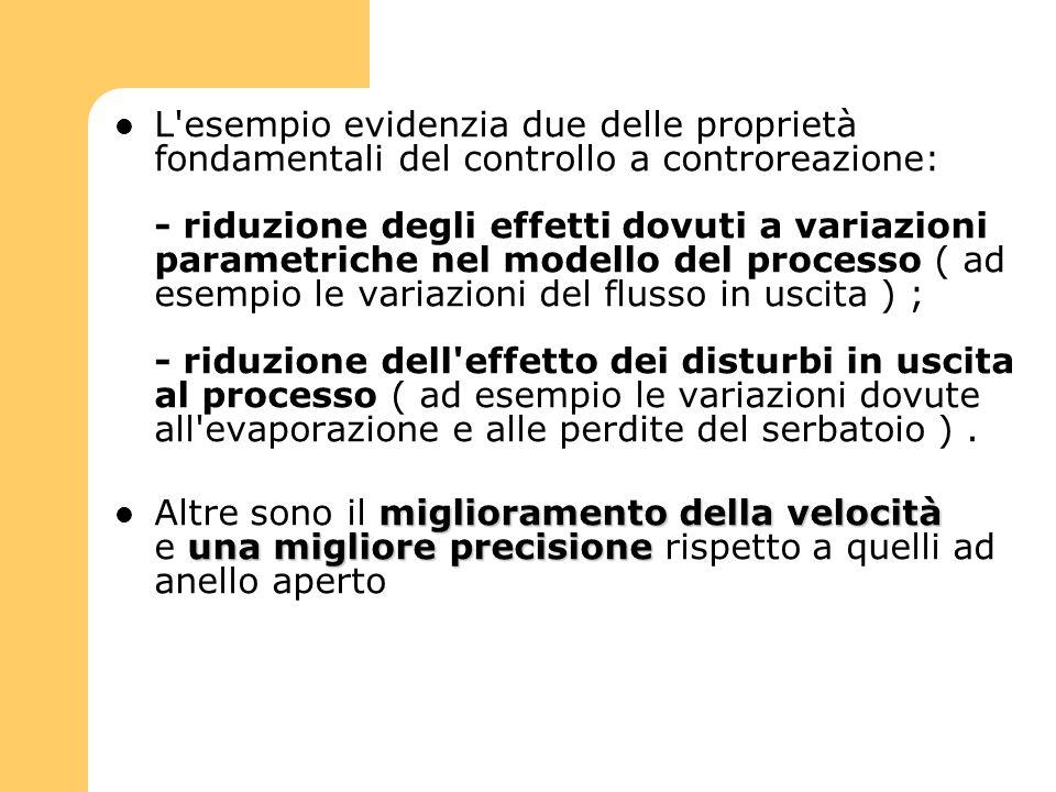 L esempio evidenzia due delle proprietà fondamentali del controllo a controreazione: - riduzione degli effetti dovuti a variazioni parametriche nel modello del processo ( ad esempio le variazioni del flusso in uscita ) ; - riduzione dell effetto dei disturbi in uscita al processo ( ad esempio le variazioni dovute all evaporazione e alle perdite del serbatoio ) .