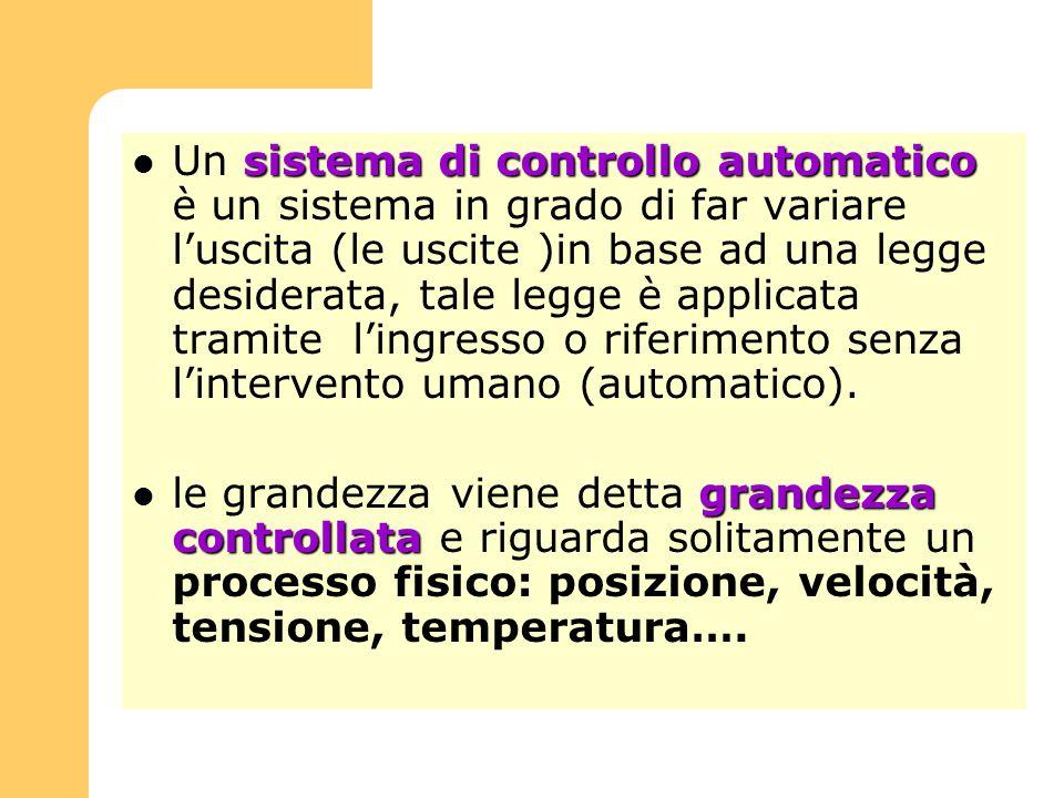 Un sistema di controllo automatico è un sistema in grado di far variare l'uscita (le uscite )in base ad una legge desiderata, tale legge è applicata tramite l'ingresso o riferimento senza l'intervento umano (automatico).