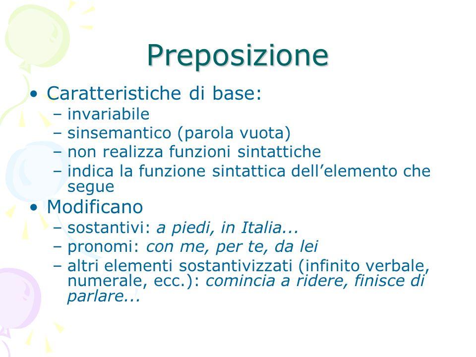 Preposizione Caratteristiche di base: Modificano invariabile