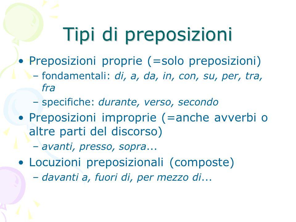 Tipi di preposizioni Preposizioni proprie (=solo preposizioni)