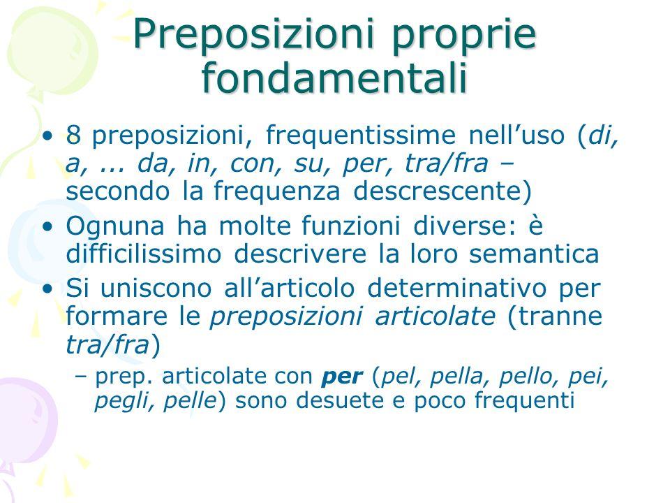 Preposizioni proprie fondamentali