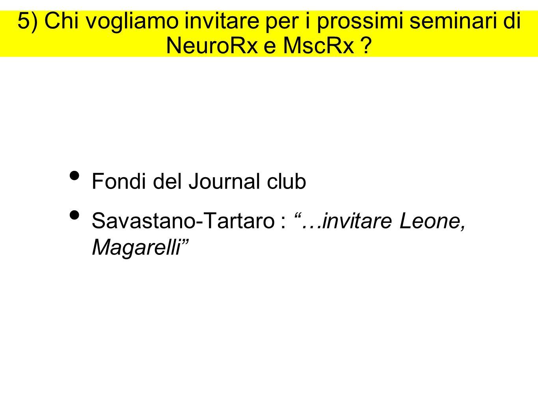5) Chi vogliamo invitare per i prossimi seminari di NeuroRx e MscRx