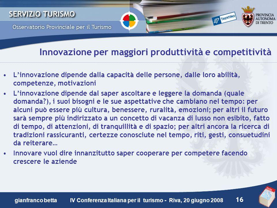 Innovazione per maggiori produttività e competitività