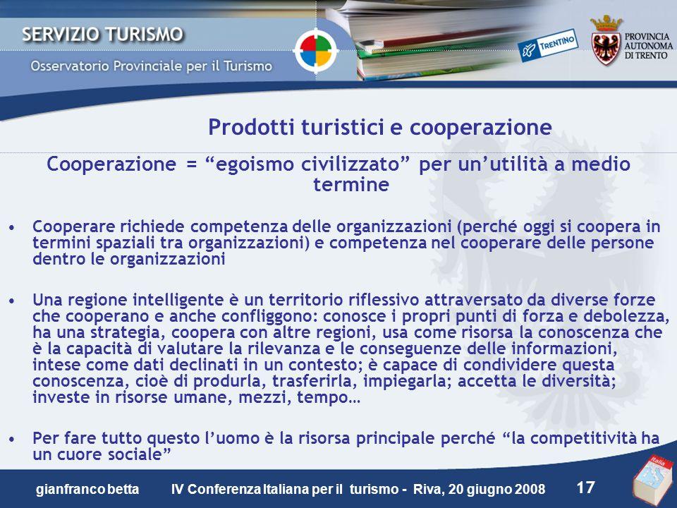 Prodotti turistici e cooperazione