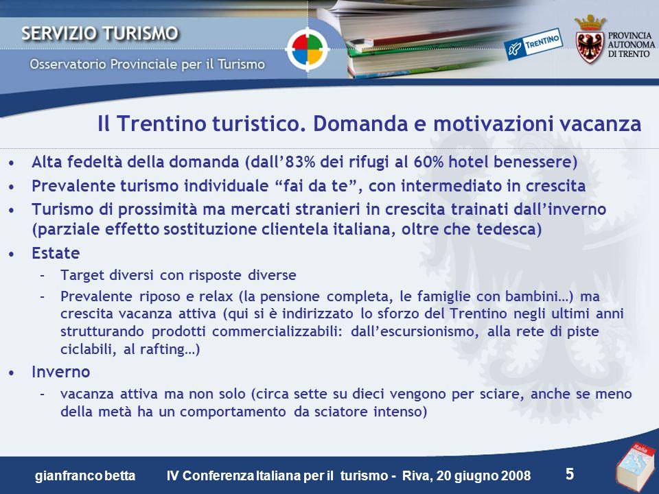 Il Trentino turistico. Domanda e motivazioni vacanza