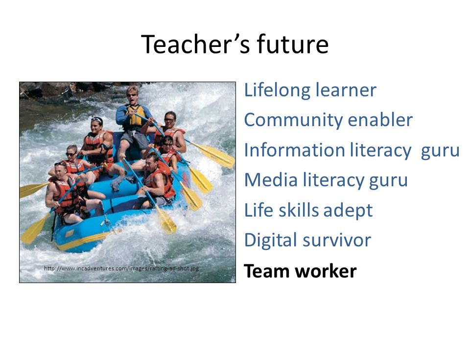 Teacher's future Lifelong learner Community enabler Information literacy guru Media literacy guru Life skills adept Digital survivor