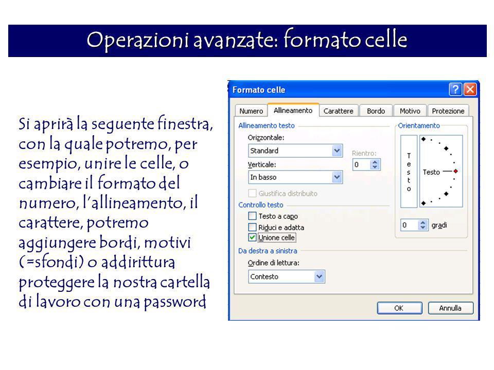 Operazioni avanzate: formato celle