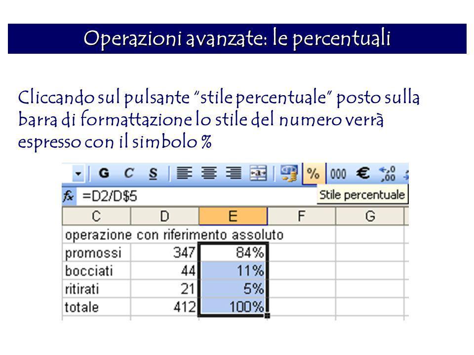 Operazioni avanzate: le percentuali