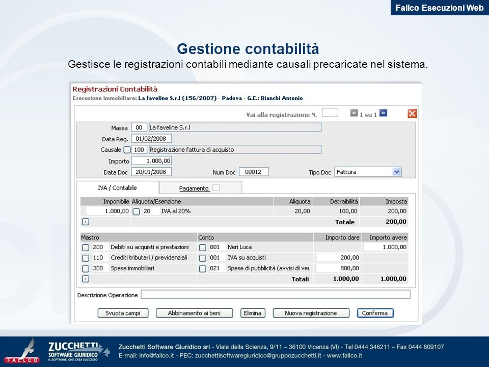 Fallco Esecuzioni Web Gestione contabilità.
