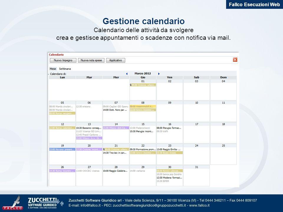 Gestione calendario Calendario delle attività da svolgere