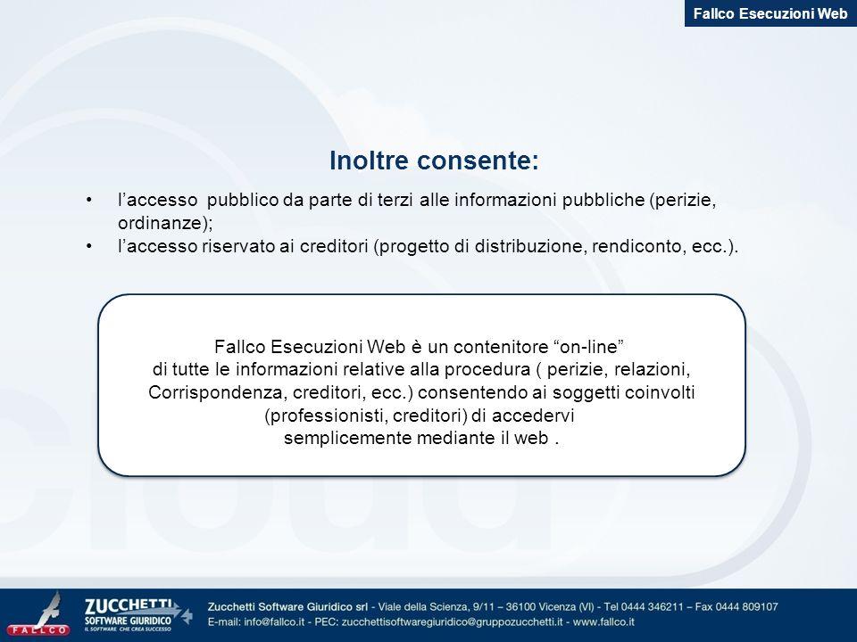 Fallco Esecuzioni Web Inoltre consente: l'accesso pubblico da parte di terzi alle informazioni pubbliche (perizie, ordinanze);