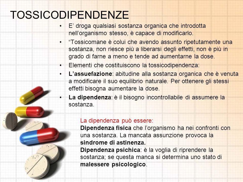 TOSSICODIPENDENZE E' droga qualsiasi sostanza organica che introdotta nell'organismo stesso, è capace di modificarlo.
