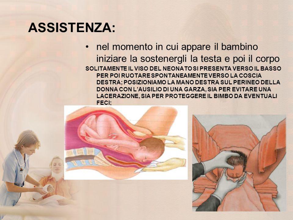 ASSISTENZA: nel momento in cui appare il bambino iniziare la sostenergli la testa e poi il corpo.