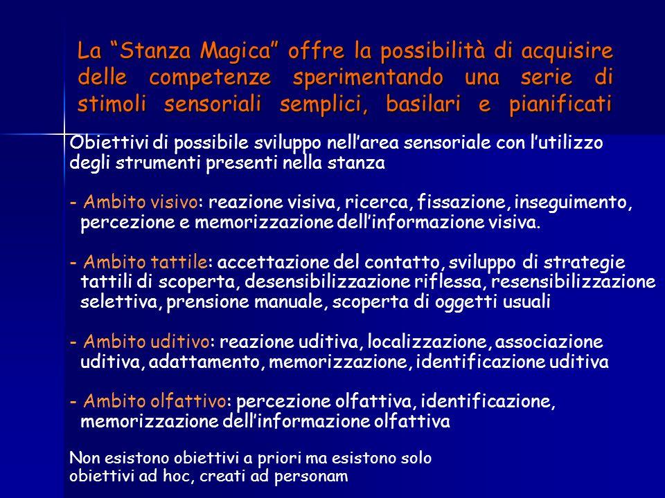 La Stanza Magica offre la possibilità di acquisire delle competenze sperimentando una serie di stimoli sensoriali semplici, basilari e pianificati
