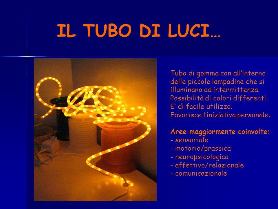 IL TUBO DI LUCI… Tubo di gomma con all'interno delle piccole lampadine che si illuminano ad intermittenza.