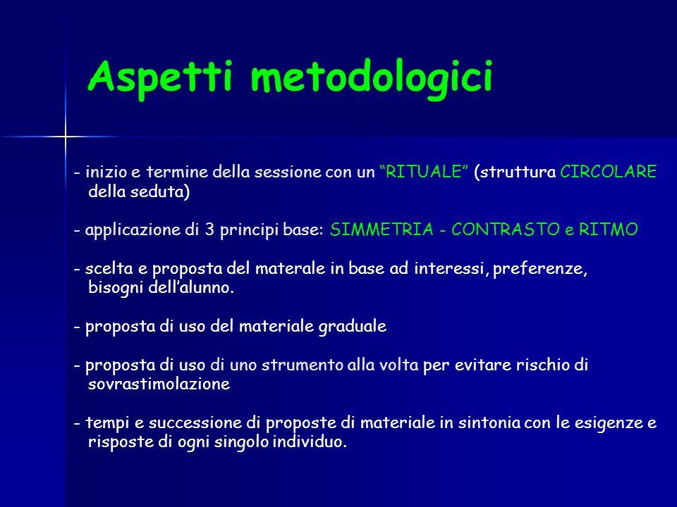Aspetti metodologici - inizio e termine della sessione con un RITUALE (struttura CIRCOLARE. della seduta)