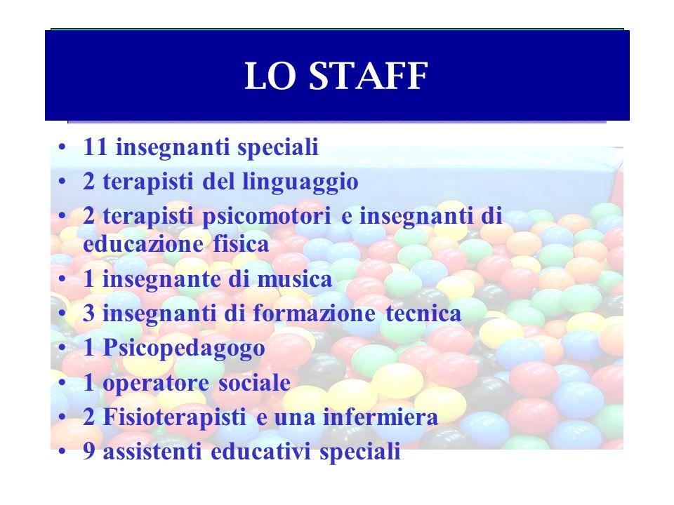 LO STAFF 11 insegnanti speciali 2 terapisti del linguaggio
