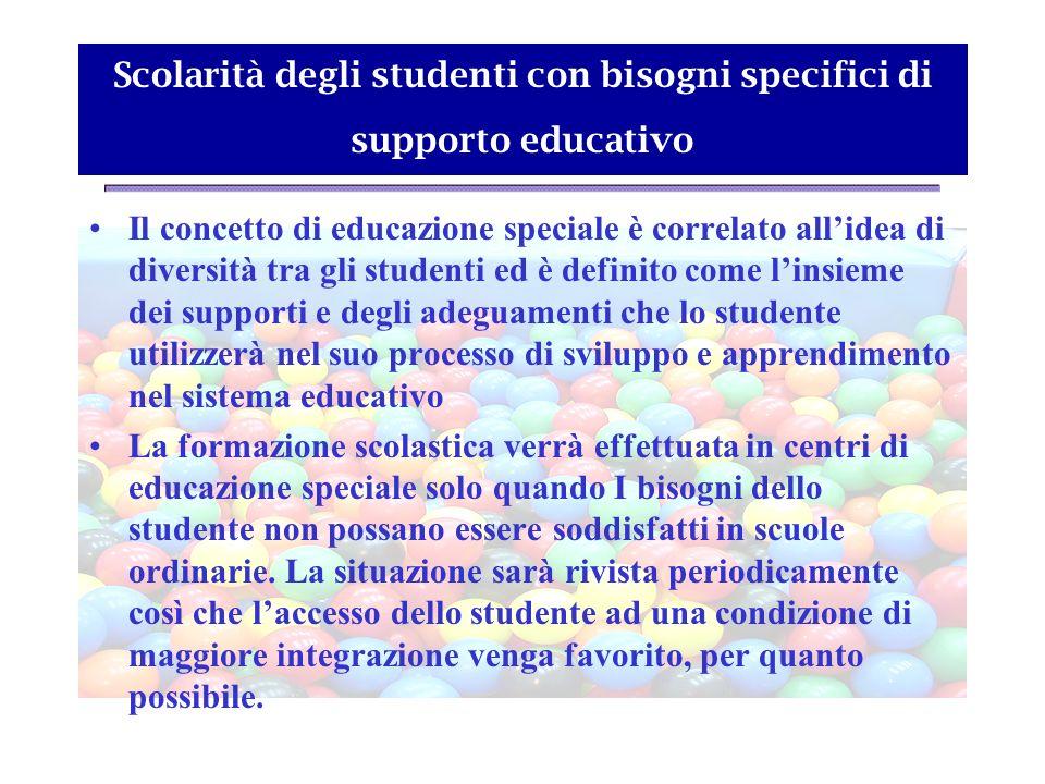 Scolarità degli studenti con bisogni specifici di supporto educativo