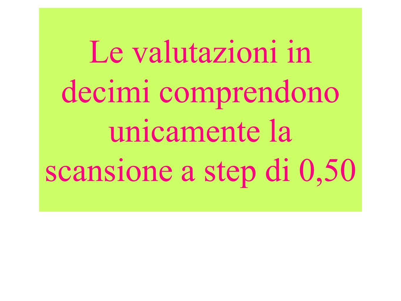 Le valutazioni in decimi comprendono unicamente la scansione a step di 0,50
