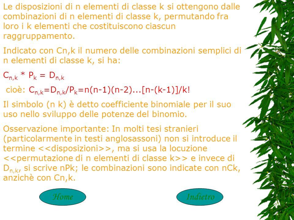 Le disposizioni di n elementi di classe k si ottengono dalle combinazioni di n elementi di classe k, permutando fra loro i k elementi che costituiscono ciascun raggruppamento.