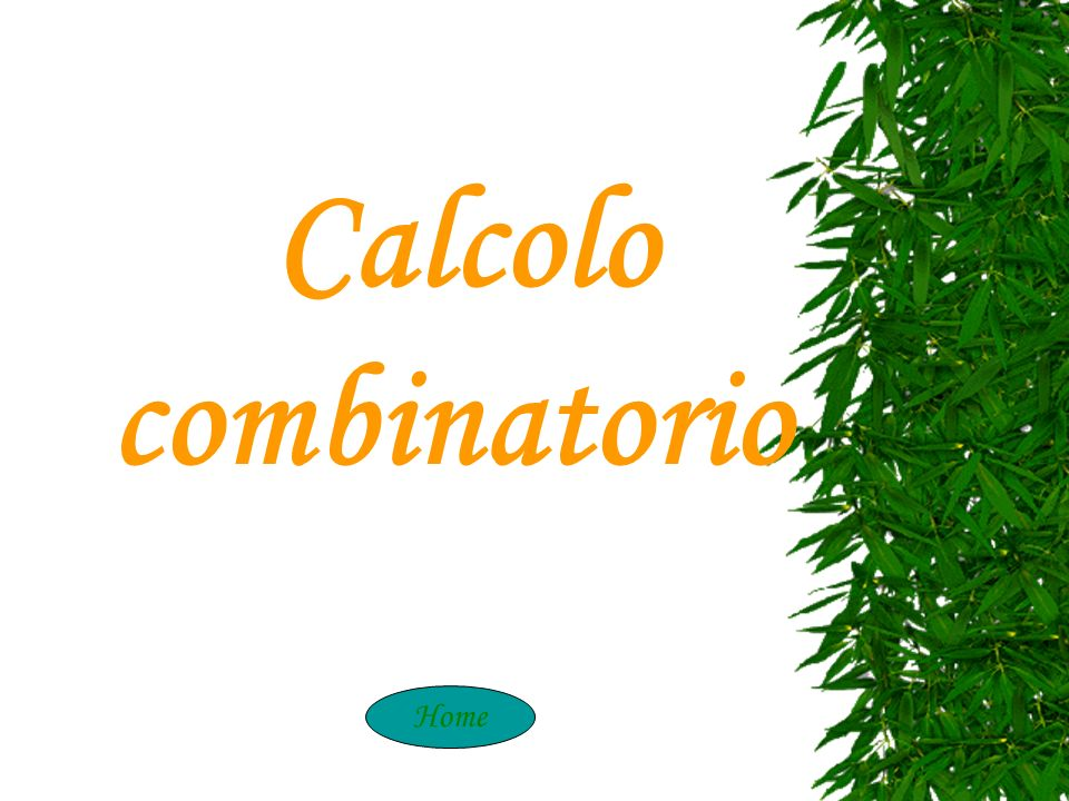 Calcolo Combinatori Calcolo combinatorio Home