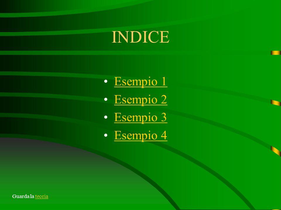 INDICE Esempio 1 Esempio 2 Esempio 3 Esempio 4 Guarda la teoria