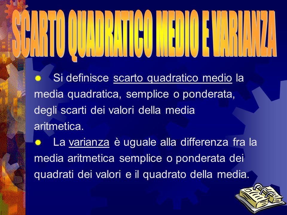 SCARTO QUADRATICO MEDIO E VARIANZA