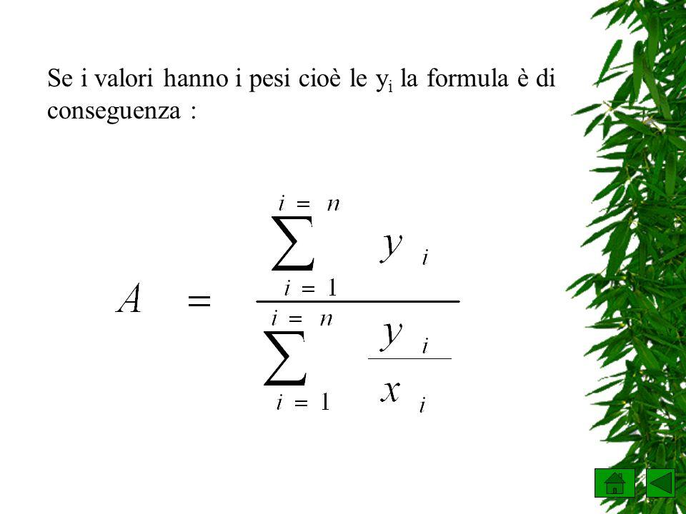Se i valori hanno i pesi cioè le yi la formula è di conseguenza :