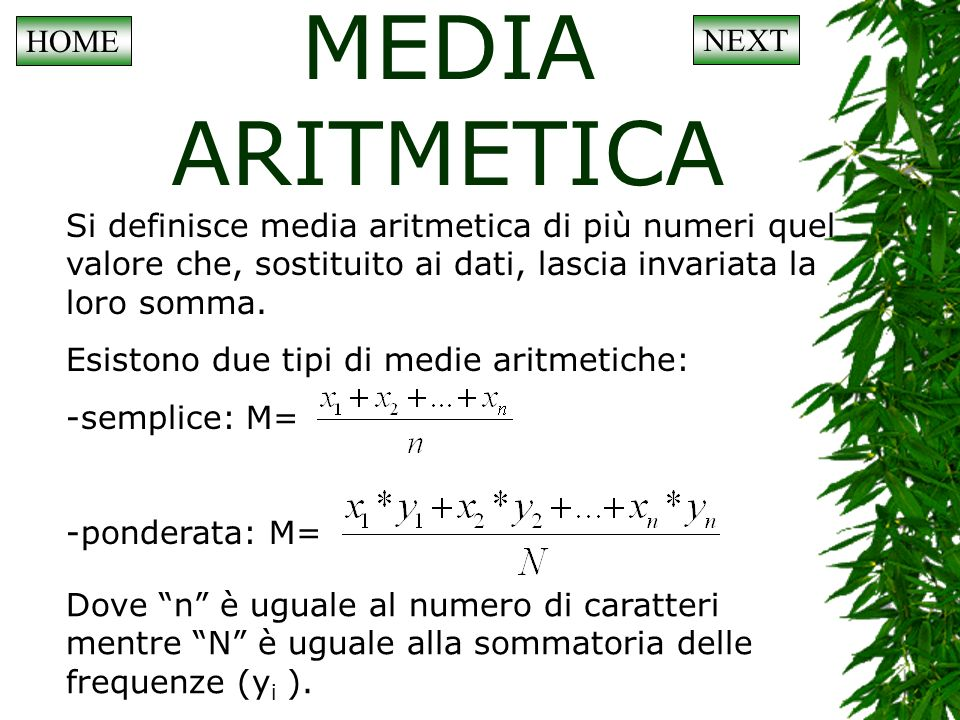 MEDIA ARITMETICA HOME NEXT