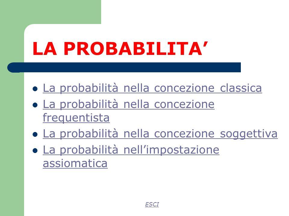 LA PROBABILITA' La probabilità nella concezione classica