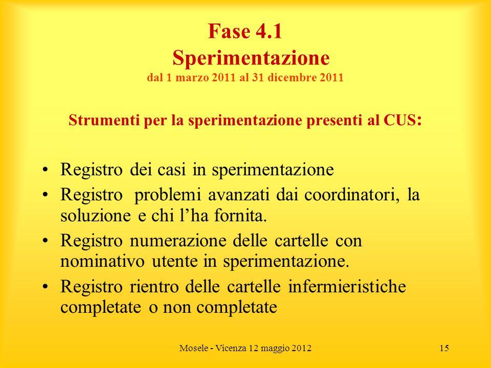Fase 4.1 Sperimentazione dal 1 marzo 2011 al 31 dicembre 2011