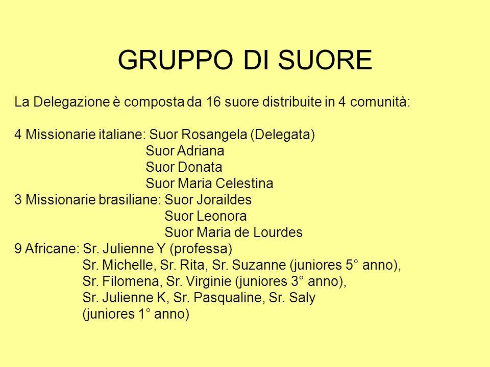 GRUPPO DI SUORE La Delegazione è composta da 16 suore distribuite in 4 comunità: 4 Missionarie italiane: Suor Rosangela (Delegata)
