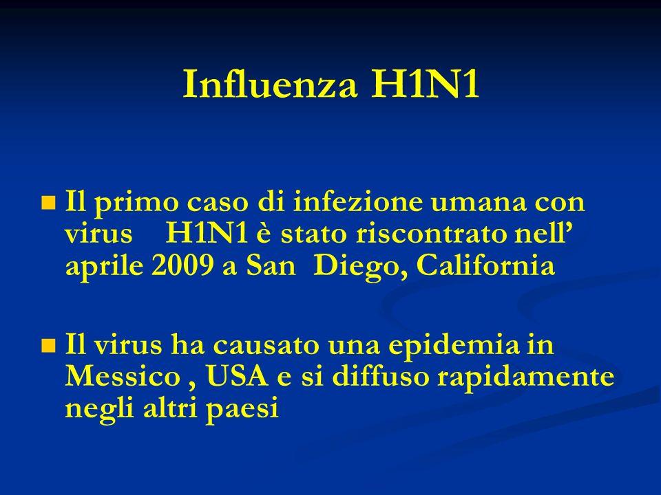 Influenza H1N1 Il primo caso di infezione umana con virus H1N1 è stato riscontrato nell' aprile 2009 a San Diego, California.