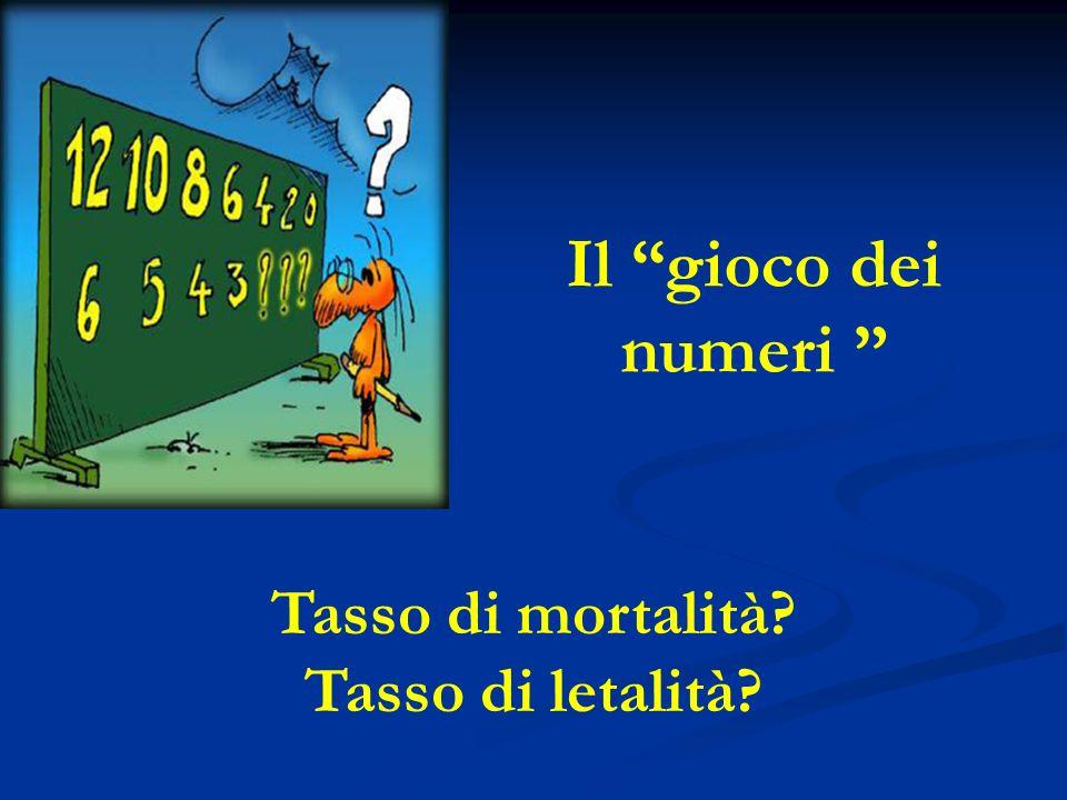 Il gioco dei numeri Tasso di mortalità Tasso di letalità