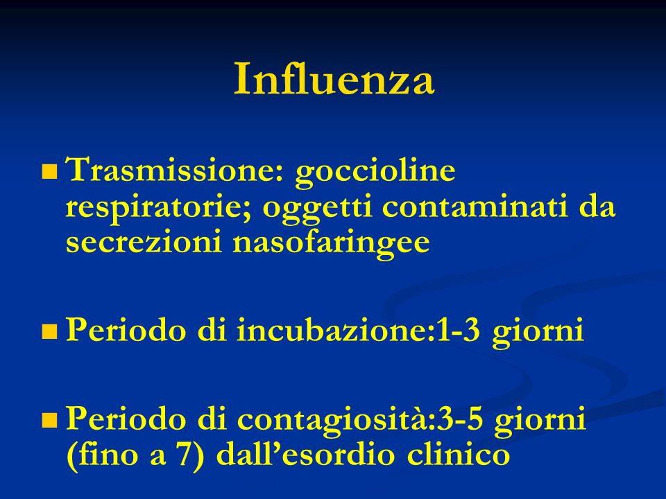 Influenza Trasmissione: goccioline respiratorie; oggetti contaminati da secrezioni nasofaringee. Periodo di incubazione:1-3 giorni.