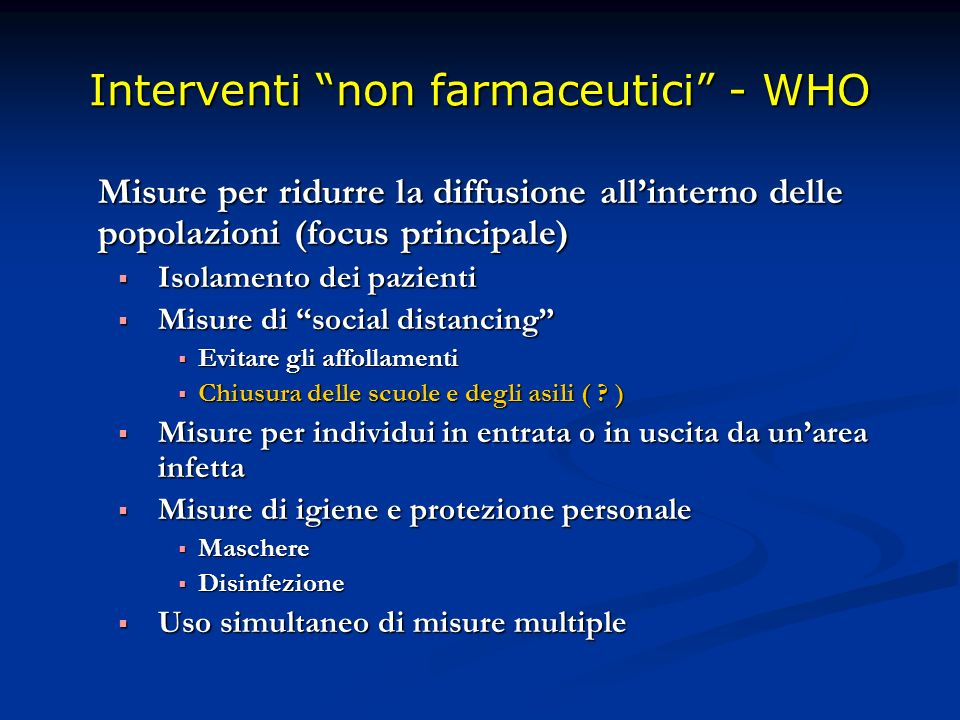 Interventi non farmaceutici - WHO