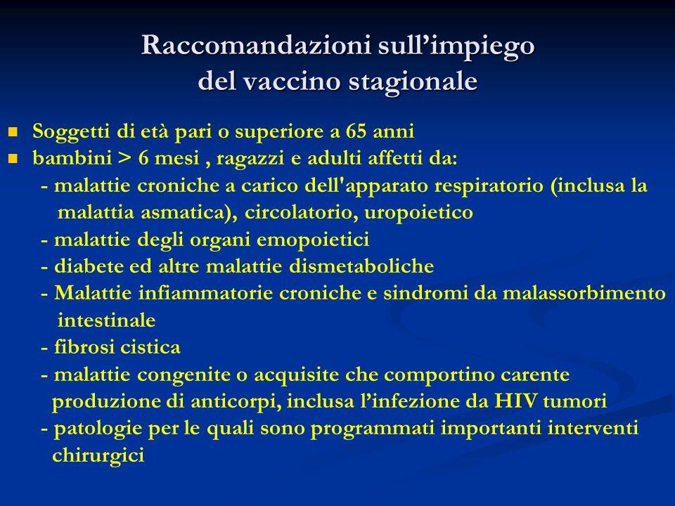 Raccomandazioni sull'impiego del vaccino stagionale