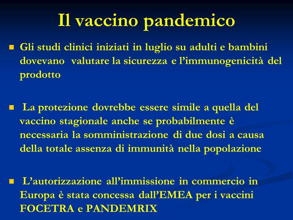 Il vaccino pandemicoGli studi clinici iniziati in luglio su adulti e bambini dovevano valutare la sicurezza e l'immunogenicità del prodotto.