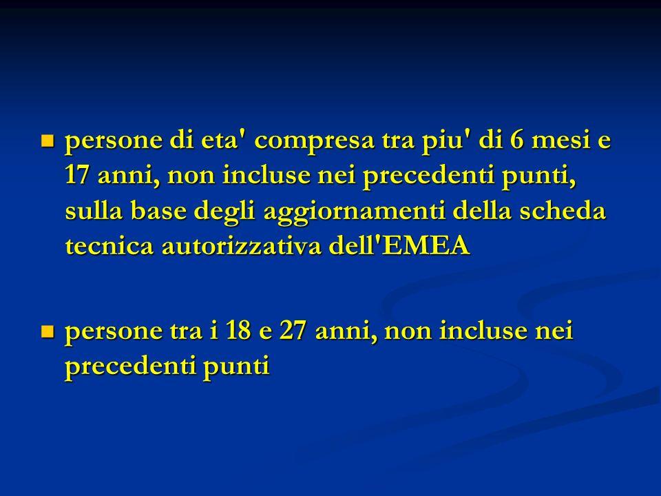 persone di eta compresa tra piu di 6 mesi e 17 anni, non incluse nei precedenti punti, sulla base degli aggiornamenti della scheda tecnica autorizzativa dell EMEA