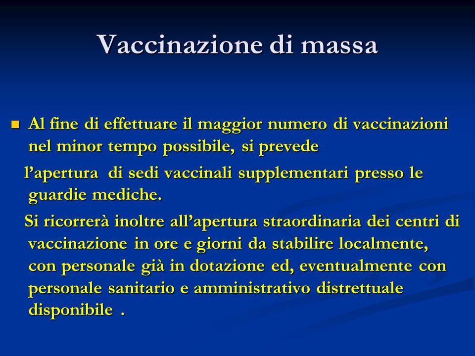 Vaccinazione di massa Al fine di effettuare il maggior numero di vaccinazioni nel minor tempo possibile, si prevede.