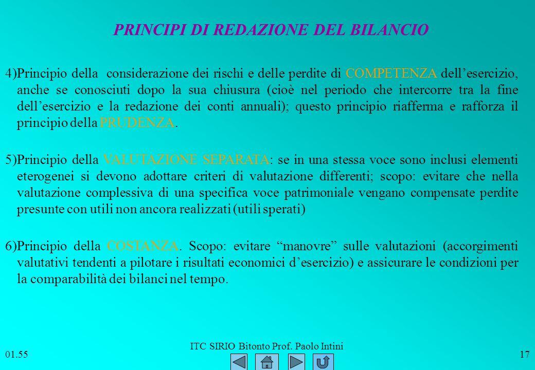 PRINCIPI DI REDAZIONE DEL BILANCIO
