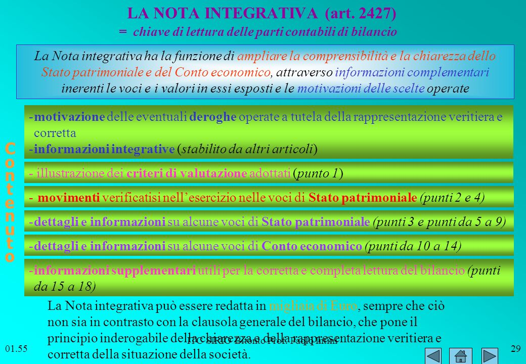 LA NOTA INTEGRATIVA (art. 2427)
